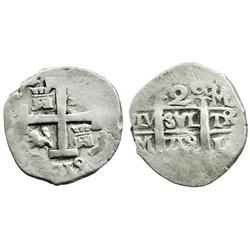 Lima, Peru, cob 2 reales, 1719M.