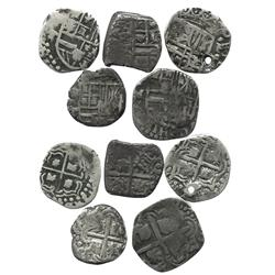 Lot of 5 Potosi, Bolivia, cob 1R of Philip III and IV, assayers M, T or not visible.