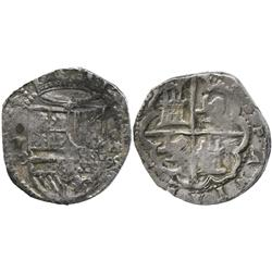 Toledo, Spain, cob 4 reales, horizontal (15)90 date to right of shield, assayer M inside circle to l