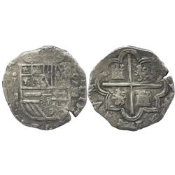 Segovia, Spain, cob 4 reales, (15)92 date to right, assayer I to left of shield, rare.