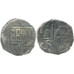 Segovia, Spain, cob 4 reales, (15)96 date to right, assayer FE (backwards F) monogram to left, very