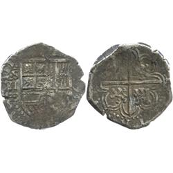 Seville, Spain, cob 2 reales, 1593 date to right, assayer B to left of shield.