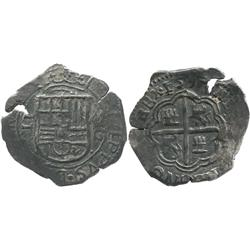 Granada, Spain, cob 2 reales, Philip II, 1597 date above cross, assayer M above mintmark G to right
