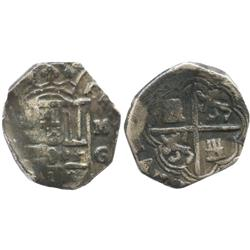 Granada, Spain, cob 2 reales, Philip II or III, assayer M above mintmark G to right.