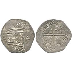 Granada, Spain, cob 1 real, Philip II, assayer oF to right, mintmark oGo to left of shield.