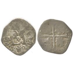 Seville, Spain, cob 1/2 real, 1590/89 date to right, assayer B over Gothic D to left, unlisted for t
