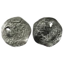 Toledo, Spain, cob 1/2 real, Philip II, 1590 date below, assayer circled-M to right of monogram.
