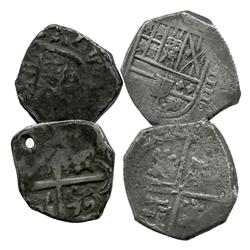 Lot of 2 Spanish silver-cob minors (one 4R and one 2R), both probably Philip IV, assayers not visibl