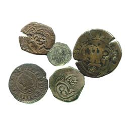 Lot of 5 Spanish copper cobs, various denominations and mints and periods (1500s-1600s), most with c