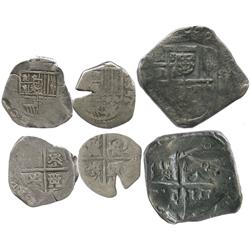 Lot of 3 miscellaneous Spain cobs: 8R Charles II(?) with punchmark; 2R 1596; 2R Philip III assayer B