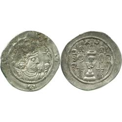 SASSANIAN EMPIRE, AR drachm,  Hormoizd IV, 579-590 AD. JD(JAY) mint.