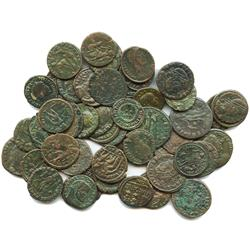 Lot of 49 Roman Empire bronzes (mostly AE follis) of Constantius II and Constantine I (the Great) an