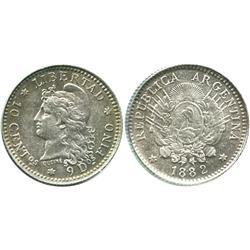 Argentina, 10 centavos, 1882.