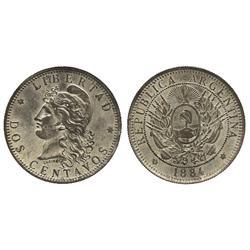 Argentina, bronze 2 centavos, 1884, silver-plated.