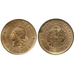 Argentina, bronze 1 centavo, 1890.