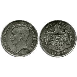 Belgium, 20 francs, Albert, 1931.