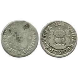 Potosi, Bolivia, pillar 1/2 real, Charles III, 1770JR.