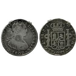 Potosi, Bolivia, bust 4 reales, Charles IV, 1807PJ, with unidentified flower countermark.