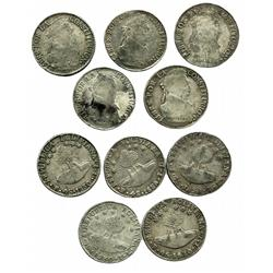 Lot of 5 different varieties of Potosi, Bolivia, 4 soles, 1830JL.