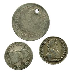Lot of 3 silver coins: Two Bolivian 1/2 sols, 1830JL, and one Lima, Peru, bust 1 real, Charles III,