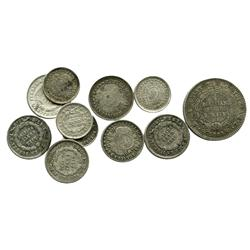 Lot of 11 Bolivian small silver coins: one 1/5 boliviano (1864FP, 9 widely spaced stars); six 10 cen