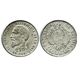 Bolivia, 20 centavos, 1879, Daza commemorative.