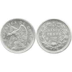 Santiago, Chile, 5 pesos, 1927, wide 5.