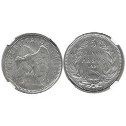 Santiago, Chile, 5 pesos, 1927, wide 5, encapsulated NGC MS 64.