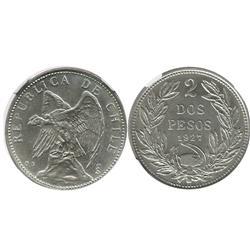 Santiago, Chile, 2 pesos, 1927, encapsulated NGC MS 64.