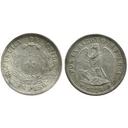 Santiago, Chile, 1 peso, 1875.