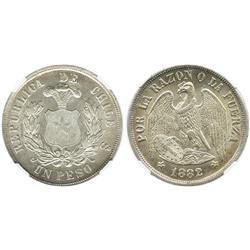 Santiago, Chile, 1 peso, 1882, encapsulated NGC MS 63.