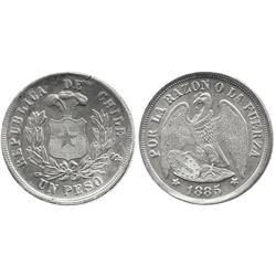 Santiago, Chile, 1 peso, 1885.