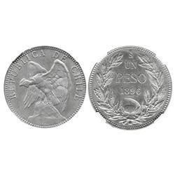 Santiago, Chile, 1 peso, 1896, encapsulated NGC MS 62.