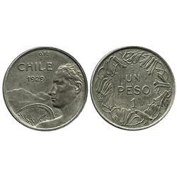 Santiago, Chile, pattern 1 peso, 1929.