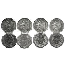 Lot of 4 Santiago, Chile, silver coins in capsules: 1 peso, 1921, NGC MS 64; 1 peso, 1927 thick 1, N
