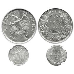 Lot of 2 Santiago, Chile, silver coins in capsules: 1 peso, 1925, PCGS MS63; and 10 centavos, 1896,