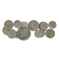 Lot of 13 Santiago, Chile, copper-nickel coins: 1 peso, 1933; 20c, 1924, 1940; 10c, 1923, 1933, 1936