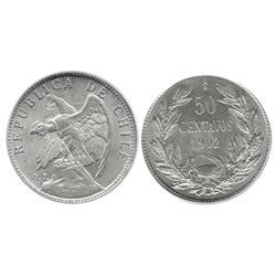 Santiago, Chile, 50 centavos, 1902, encapsulated PCGS MS63.
