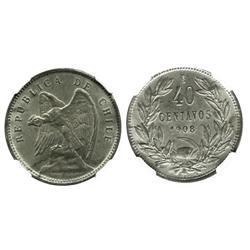 Santiago, Chile, 40 centavos, 1908, encapsulated NGC MS 63.