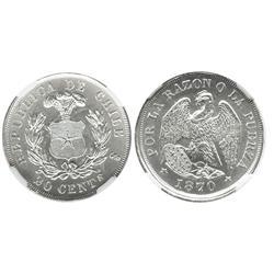 Santiago, Chile, 20 centavos, 1870, encapsulated NGC MS 64.