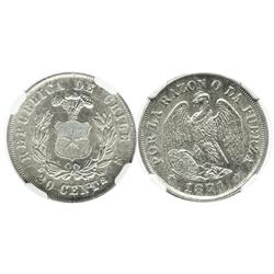 Santiago, Chile, 20 centavos, 1871, encapsulated NGC MS 63.