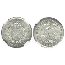 Santiago, Chile, 20 centavos, 1878, encapsulated NGC MS 65.