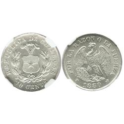 Santiago, Chile, 20 centavos, 1880, encapsulated NGC MS 64.