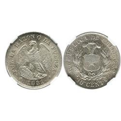 Santiago, Chile, 20 centavos, 1881, encapsulated NGC MS 64.