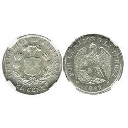 Santiago, Chile, 20 centavos, 1891, 0.2 standard, encapsulated NGC MS 64.