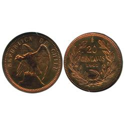 Chile, bronze pattern 20 centavos, 1941, encapsulated NGC PF 63 RB.