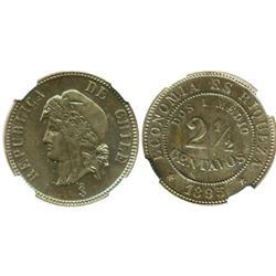 Santiago, Chile, copper 2-1/2 centavos, 1895, encapsulated NGC MS 62 BN.