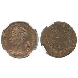 Santiago, Chile, copper 2-1/2 centavos, 1904, encapsulated NGC MS 62 RB.