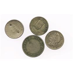 Lot of 4 Santiago, Chile, copper-nickel coins: 2c, 1876; 1c, 1871 (3), one with tiny rosette counter