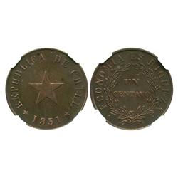 Santiago, Chile, copper 1 centavo, 1851-H, flat star, encapsulated NGC MS 62 BN, ex: Whittier collec